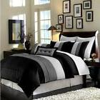Luxury Stripe Bedding Black Grey and White King Size 8 Piece