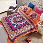 Wake In Cloud - Mandala Comforter Set Queen, 3-Piece Orange