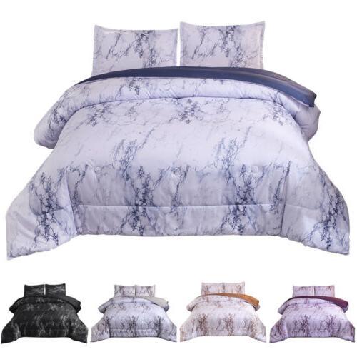 3 Pieces Marble Comforter Bed Set Duvet Cover Microfiber Rev