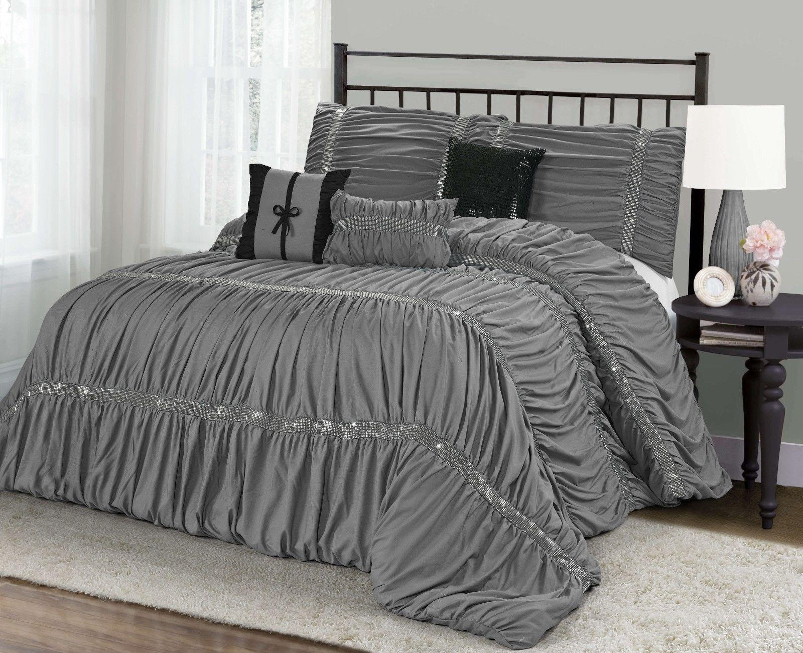 MH 7 Pieces Ruched Pleated Comforter Set King Size Gray Colo