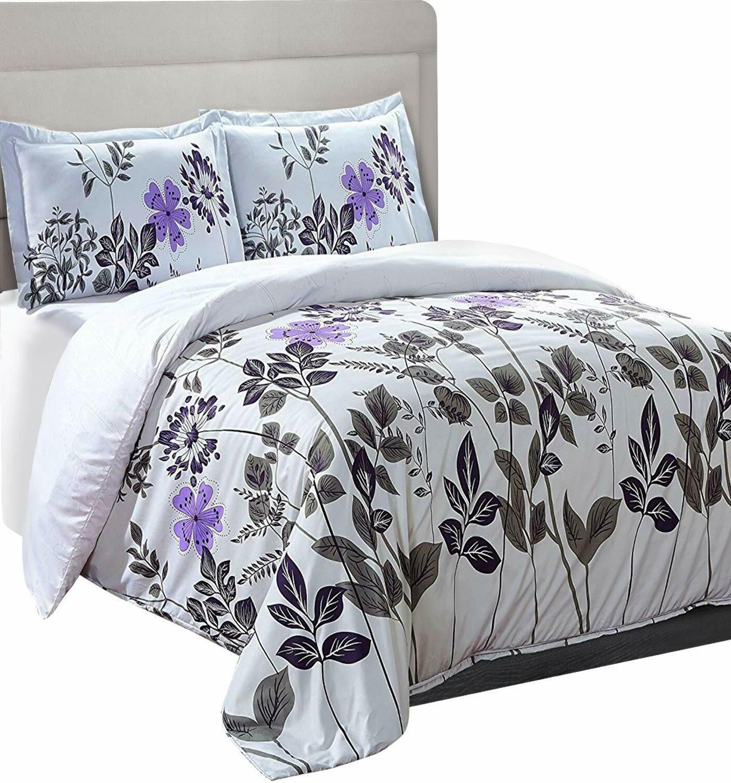 microfiber duvet comforter set floral printed pattern