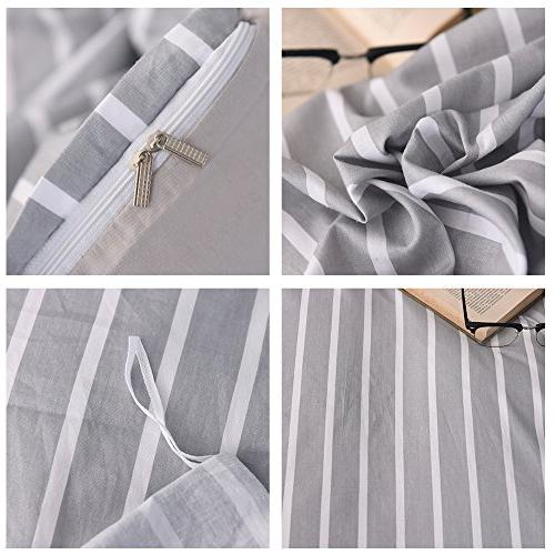 FenDie Simple Collections Cotton Microfiber White Striped Cover Covers, Pattern