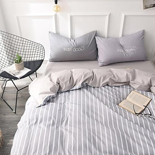 FenDie Modern Simple Bedding Collections White Cover Set, Covers, Gray Pattern
