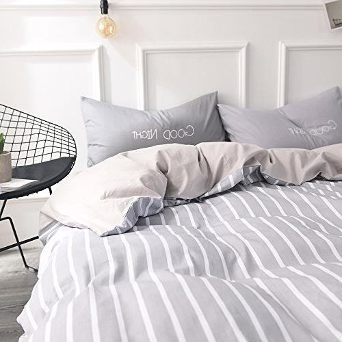 FenDie Modern Simple Bedding Collections White Cover Covers, Gray