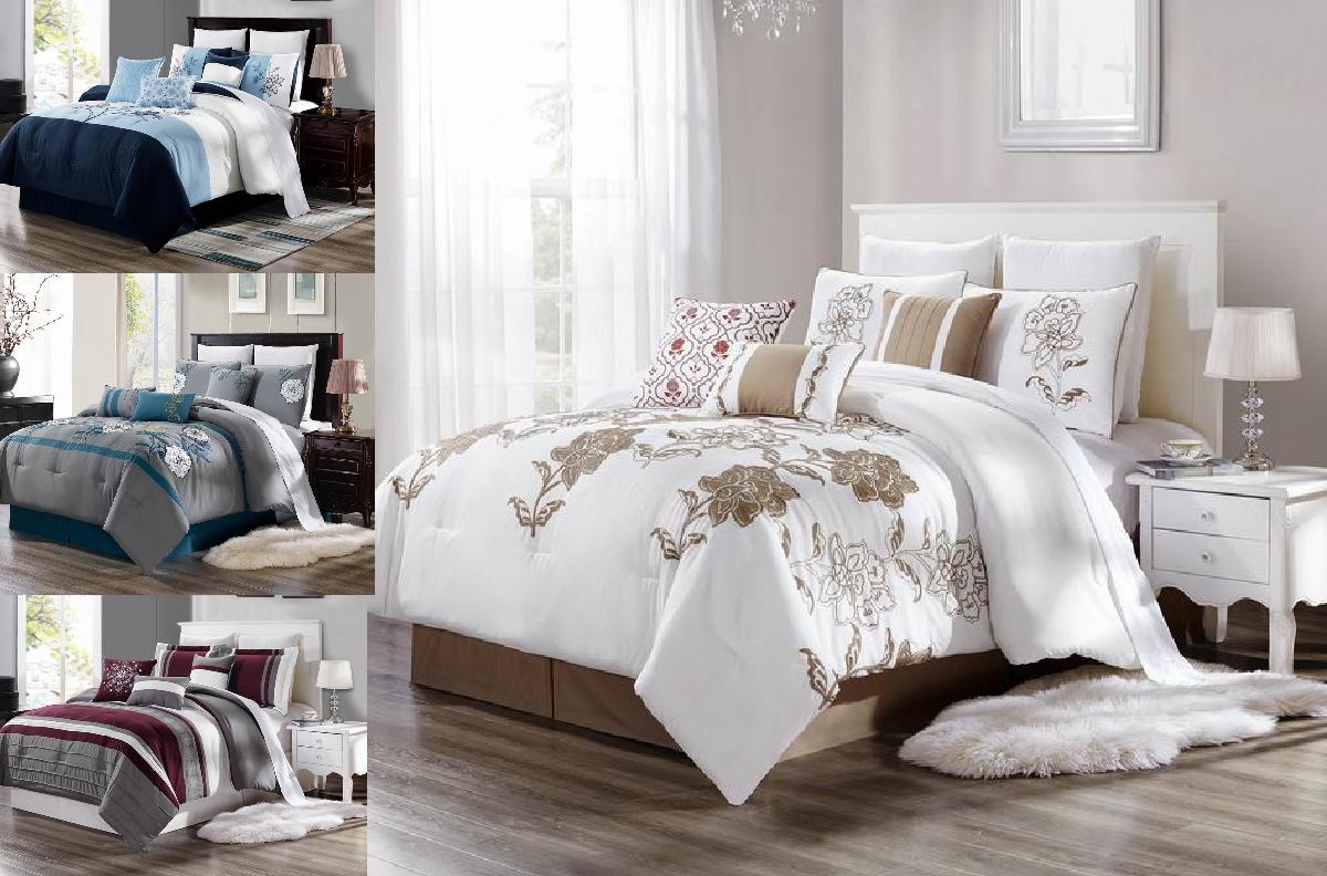 NEW BED COLLECTION EMBROIDERY DUVET COMFORTER BED COVER SHAMS