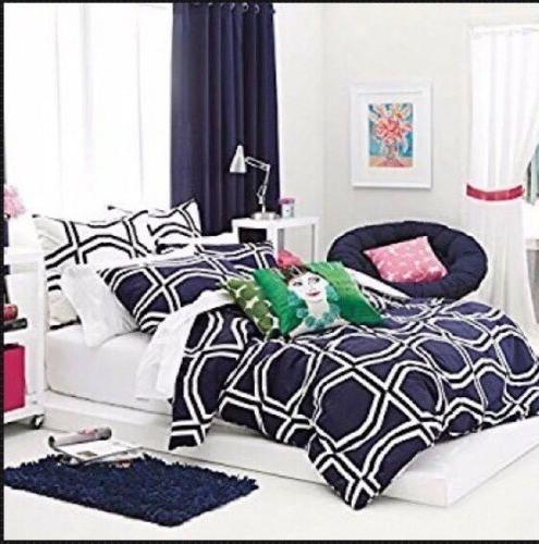 New Kate Spade Comforter Set Twin Twin XL Bow Tile Navy Ecli