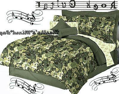 New Teen BOYS GUITAR Music Green Comforter~Sheets~Sham~Skirt