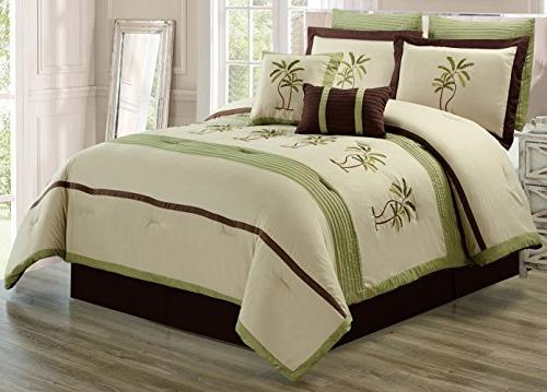 8 Green Beige / Brown Tropical PALM Embroidered King Size