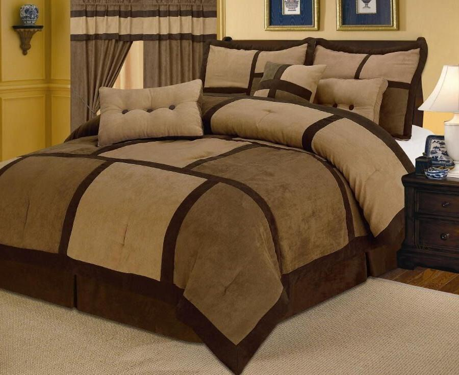 Brown Micro Suede Patchwork Comforter Set 7 Piece  All Sizes