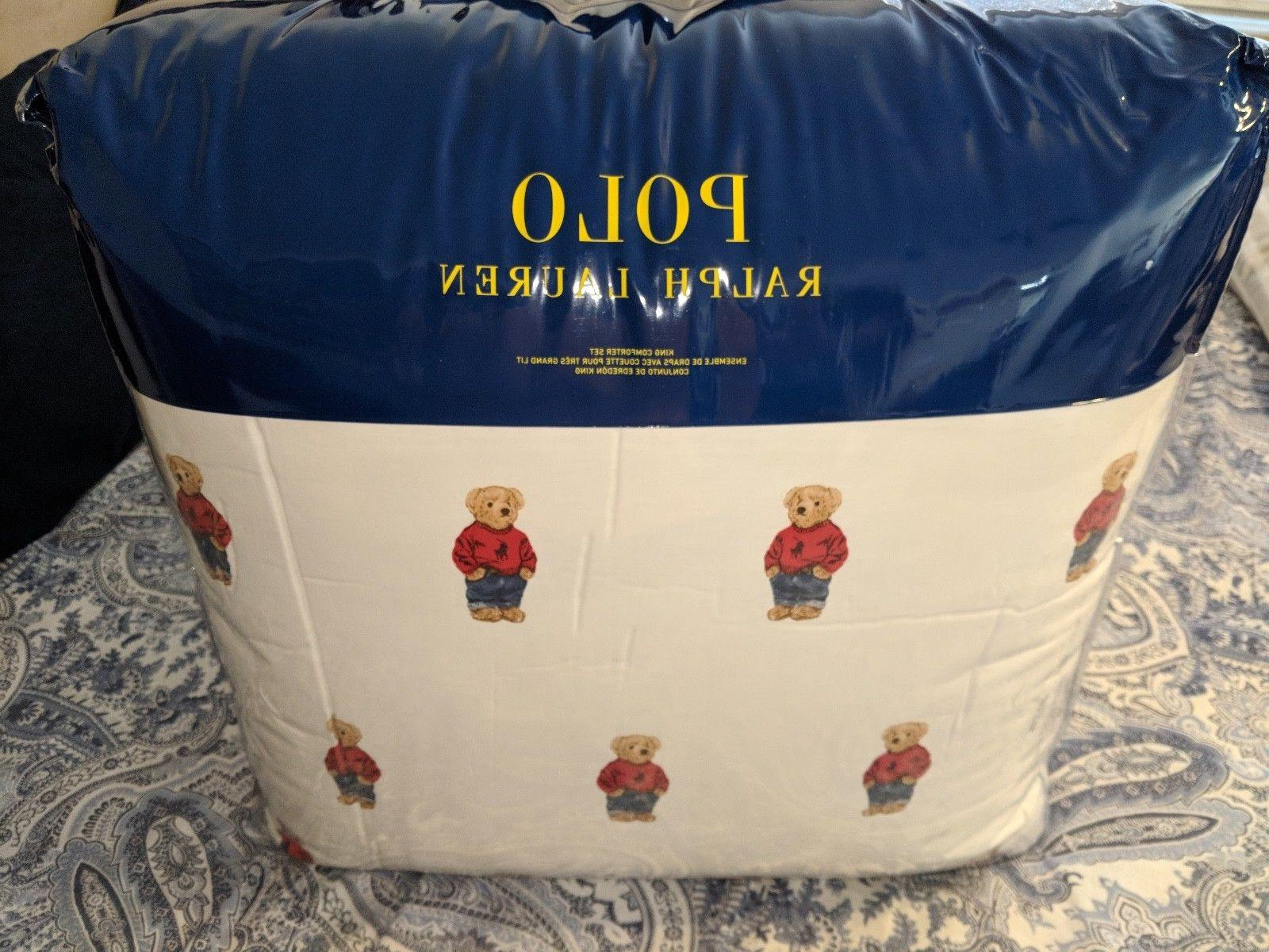 Ralph Lauren Polo Teddy Bear King Comforter SET Boy NWT with