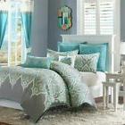 Luxury Teal & Grey Updated Paisley Comforter Set AND Decorat