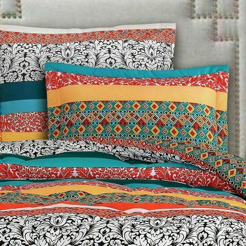 Queen Comforter Set Boho Colorful Shabby 7Piece