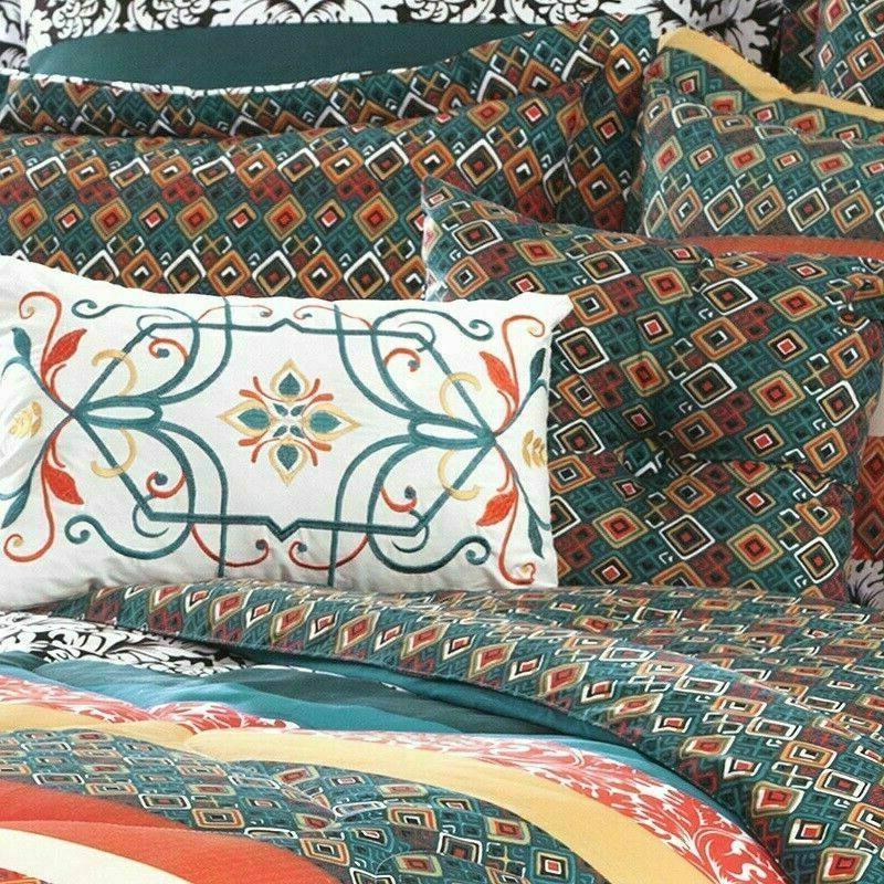 Queen Comforter Boho Bohemian Stripe Colorful Shabby 7Piece