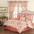 Queen King Bed Pink Coral Purple White Country Floral 6 pc C