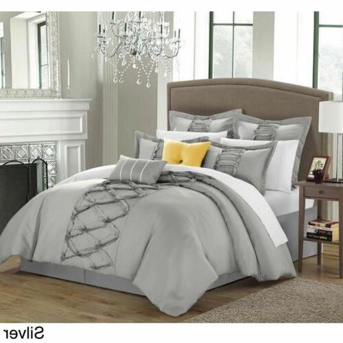 Queen King Bed Silver Gray Grey Ruffles Pintuck Pleat 8 pc C
