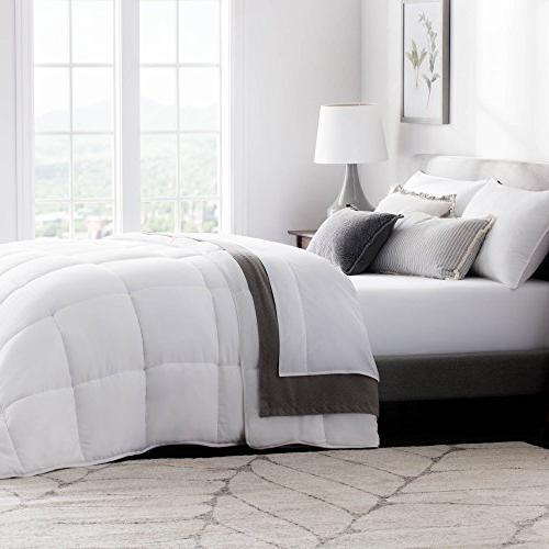 WEEKENDER Quilted Alternative Hotel-Style Comforter as Duvet Insert Stand-Alone Comforter - Hypoallergenic - for Seasons Corner Duvet Tabs California - White