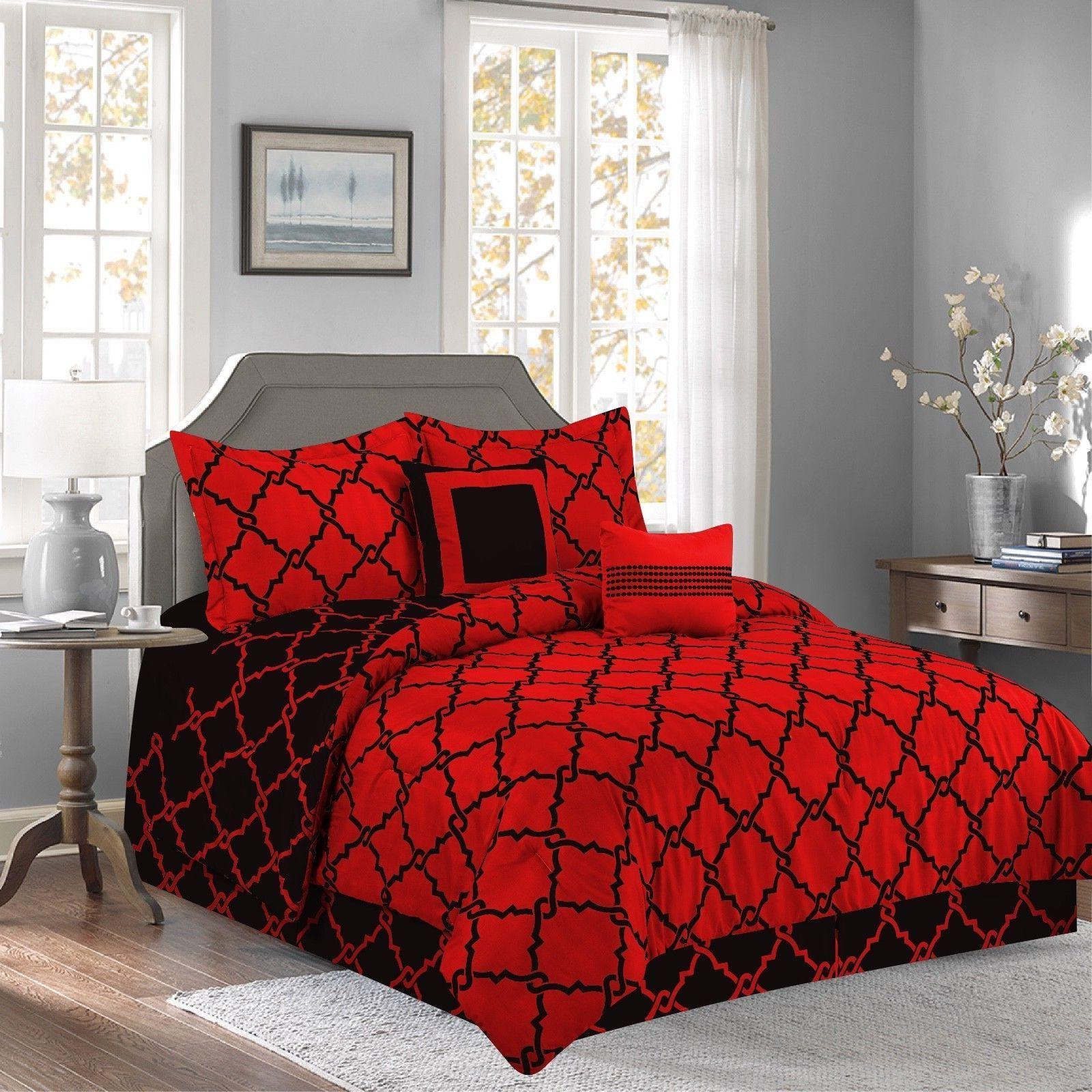red 10 piece bed in a bag