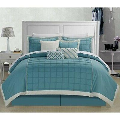 Rhodes Teal King 8 Piece Comforter Bed In A Bag Set