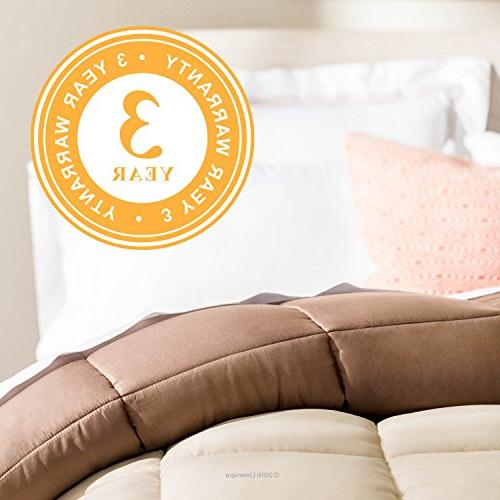 Linenspa Reversible Alternative Quilted Hypoallergenic Fill Washable - Duvet or Stand-Alone Comforter Sand/Mocha -