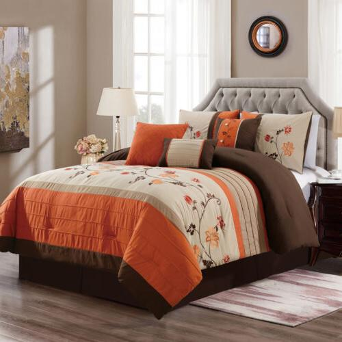serene 7 piece floral scroll embroidery striped