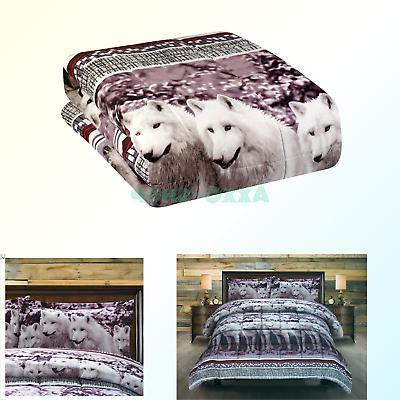 3 Piece Set Mountain Wolves Soft 3d Comforter Set 08 Queen