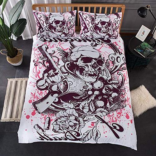 YSJ Duvet Full King Zipper Skull Pattern Printed-King Set
