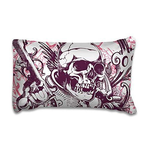 YSJ 3 PCS Skull Duvet Cover Full Queen Zipper Pattern Size Set Comforter Protector