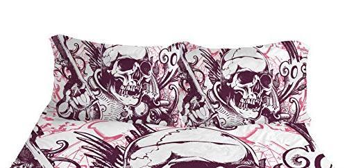YSJ PCS Skull Duvet Cover Set Full Pattern Printed-King Bedding Set Comforter Pillowcases