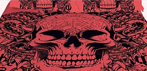 YSJ Skull Twin Queen Duvet Set with Zipper Pattern Set Comforter