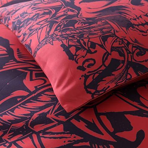 YSJ 3 PCS Twin King Duvet Zipper Skull Pattern Set