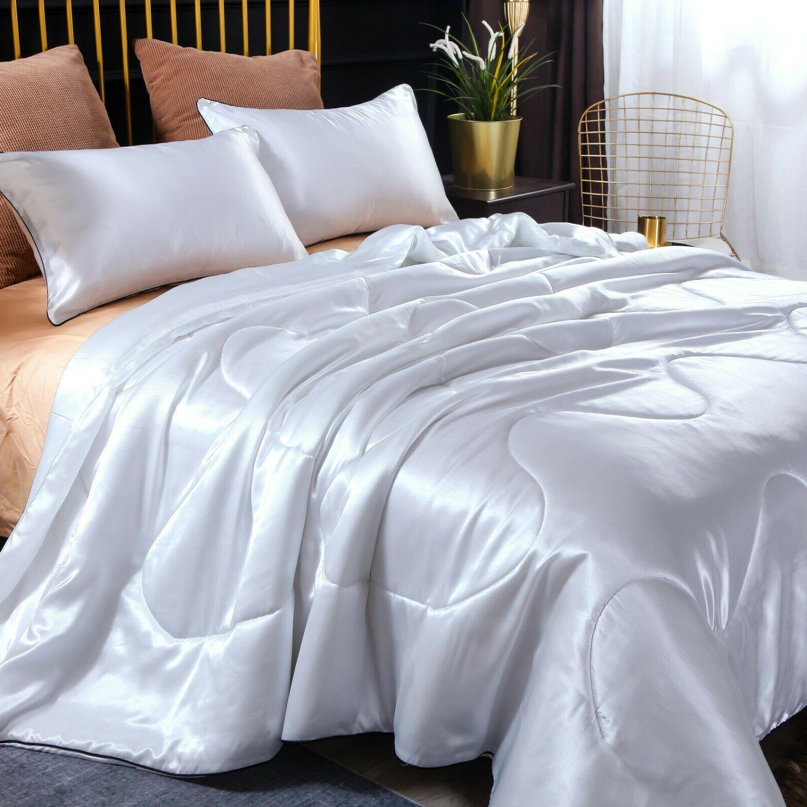 Solid Santin Silk Like Quilt Comforter Soft