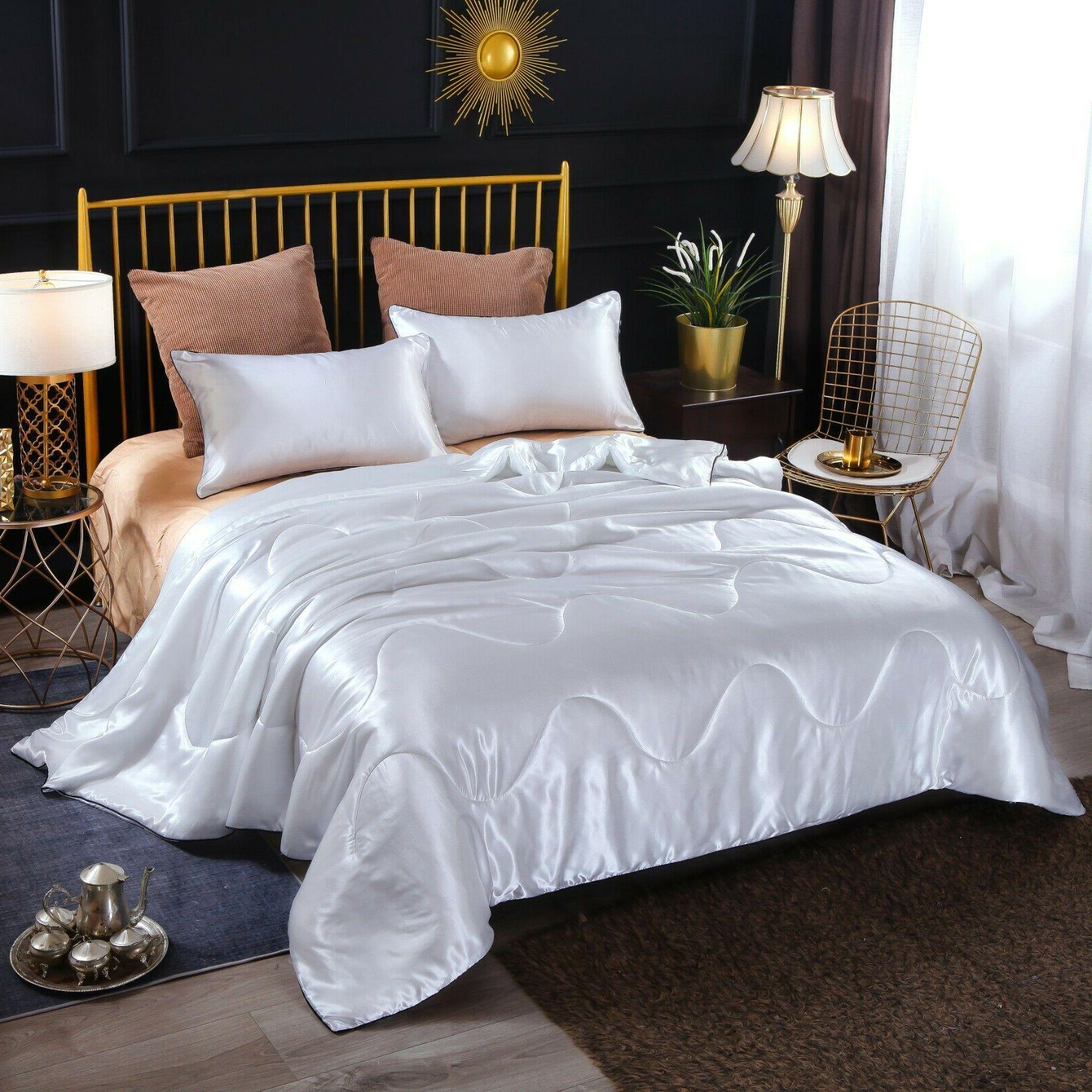 Solid Santin Silk Quilt Comforter Soft Doona Pillowcase