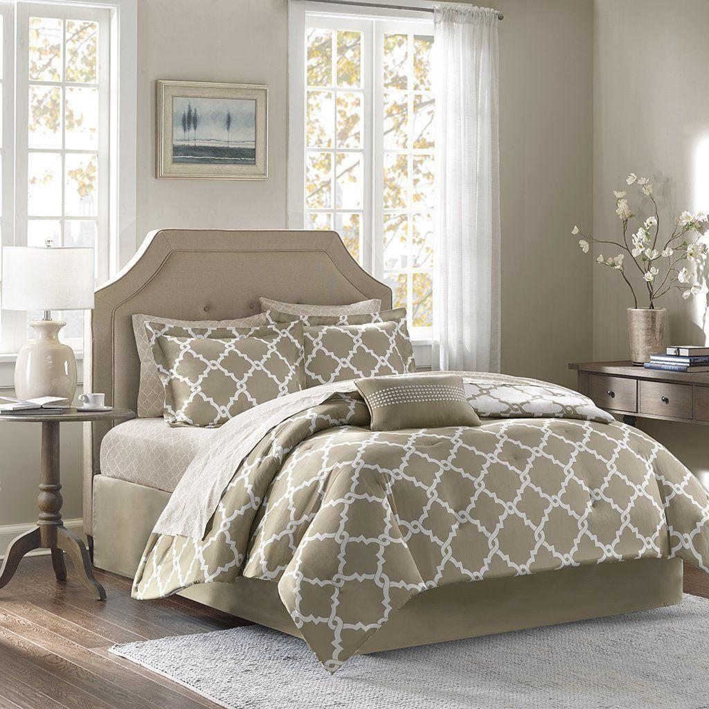 taupe 10 piece bed in a bag