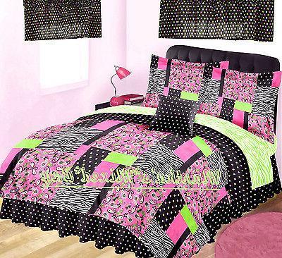 Pink ZEBRA PAISLEY Print FULL Size Comforter, Shams, Bedskir