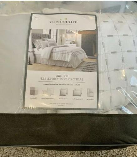 threshhold comforter set queen white 8 pieces