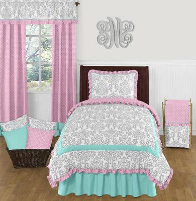 Sweet Jojo Designs Turquoise Blue Pink & Gray Damask Girl Te