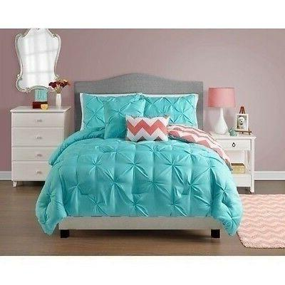 Twin Full Queen Bed Turquoise Blue Coral Chevron Pintuck Ple