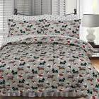 Twin Full Queen King Bed Gray Grey Winter Dogs Holiday 3pc F