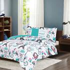 Twin Full/Queen Paris Comforter Bedding Set Teal Blue Eiffel