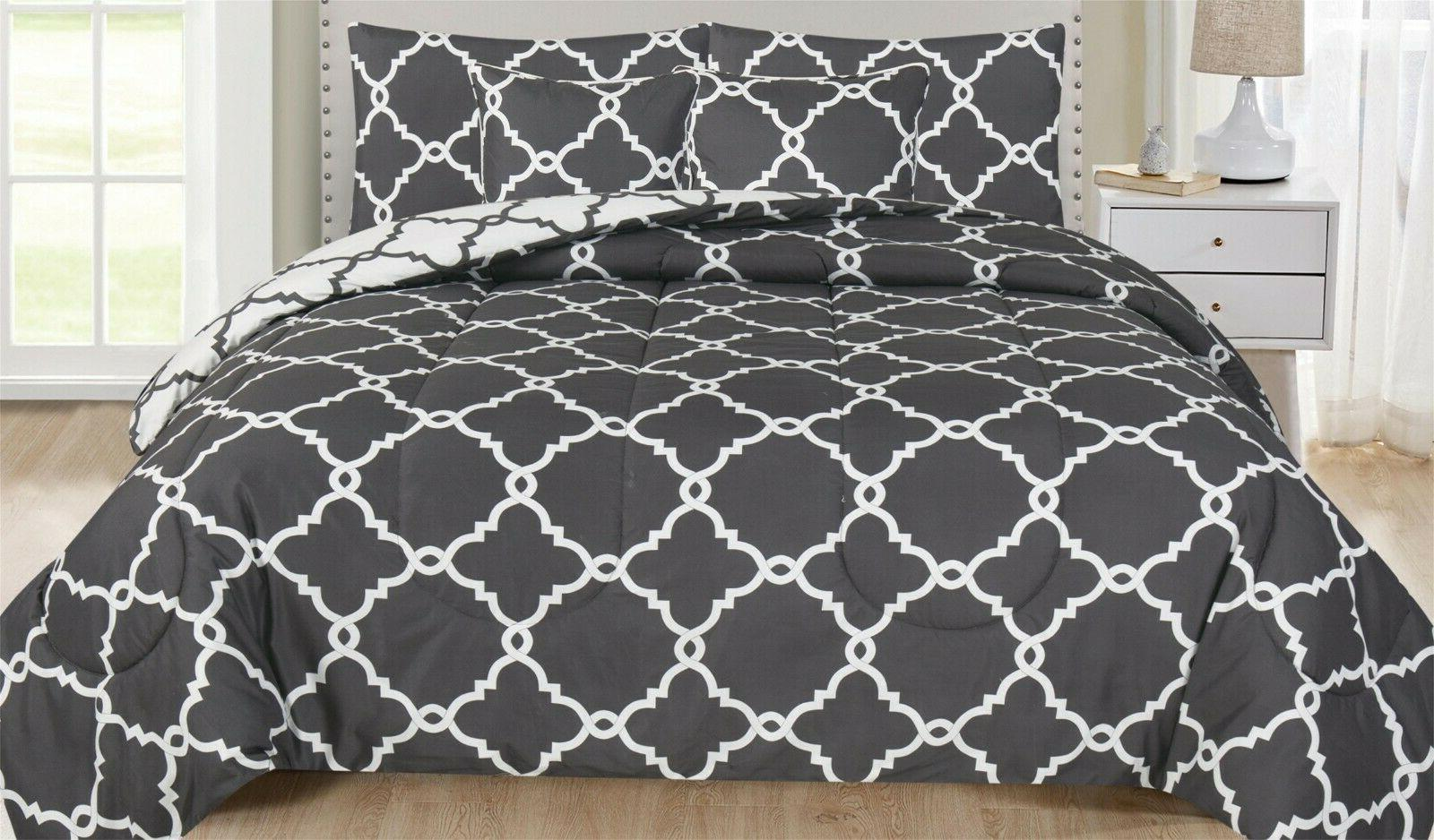 Ultra Soft 5 Piece Reversible Comforter Set Hypoallergenic P