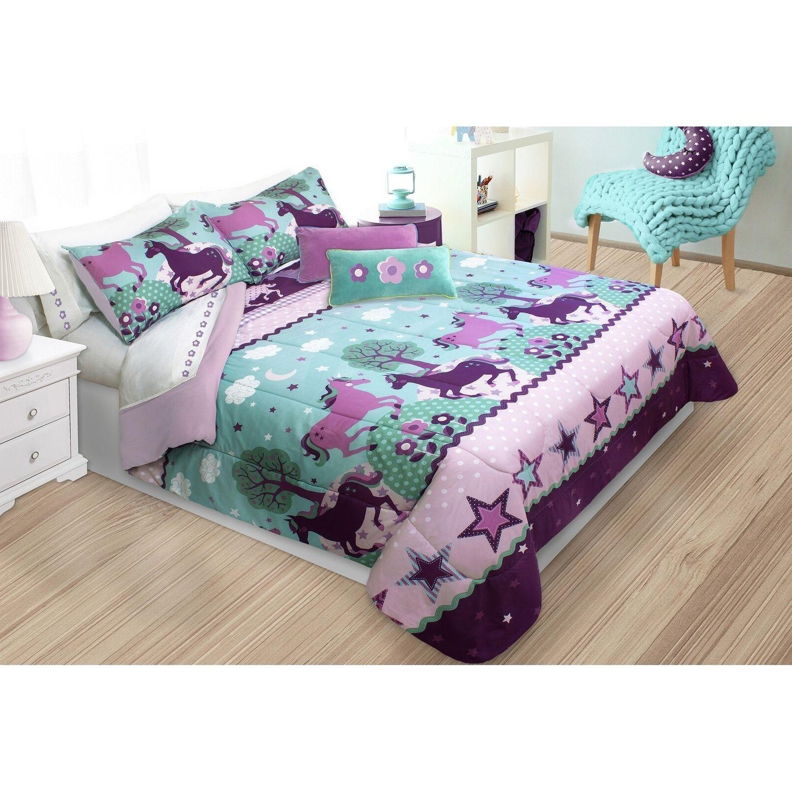 Unicorn Bedding Set For Girls Teen Twin Kids Horse Comforter