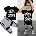 US Toddler Kids Baby Boy Cotton T-shirt Tops Harem Pants Out
