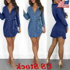 US Women Denim Jeans Long Sleeve Evening Party T-Shirt Casua