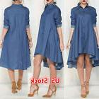 USA Women's Blue Jeans Denim Pocket Short Sleeve T-shirt Loo
