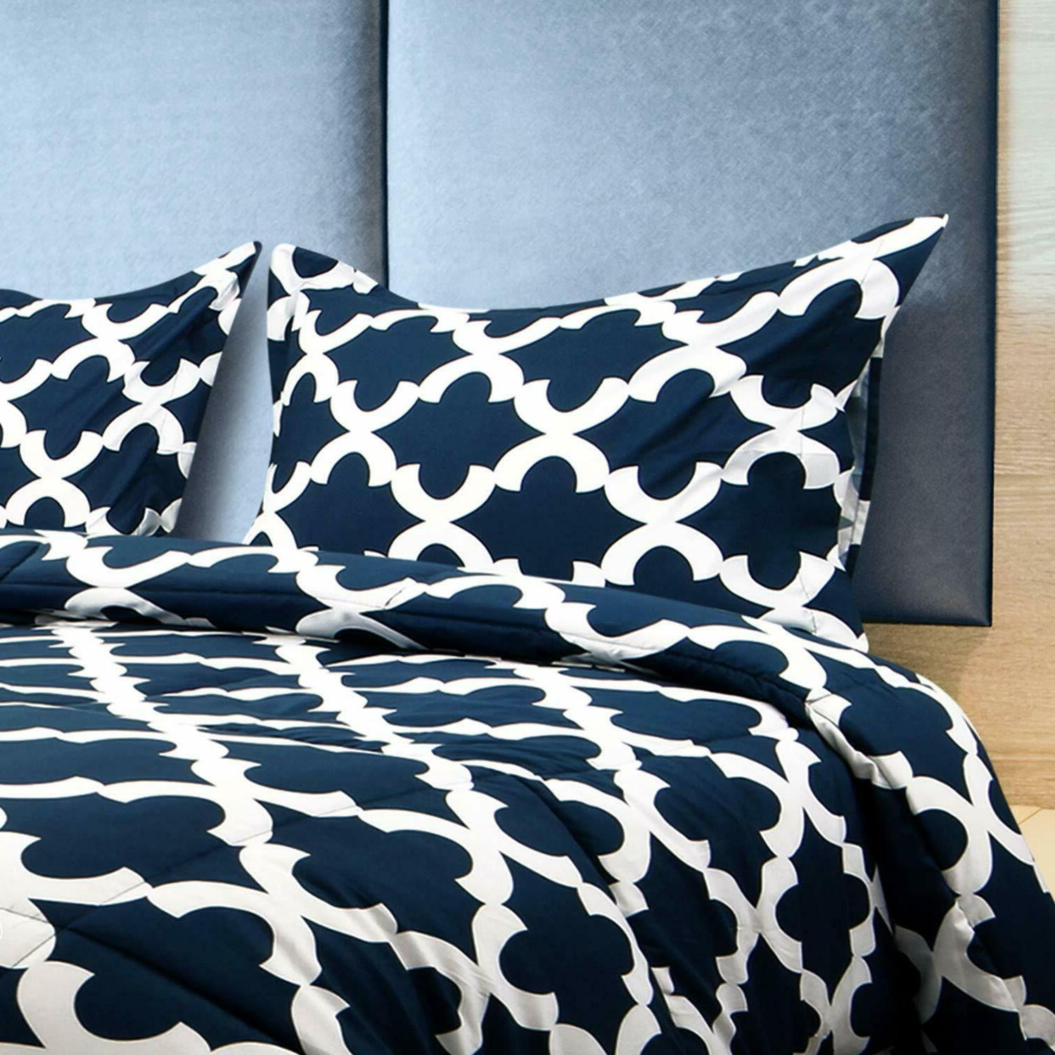 Printed Comforter Set with 2 Pillow Shams Brushed Microfiber