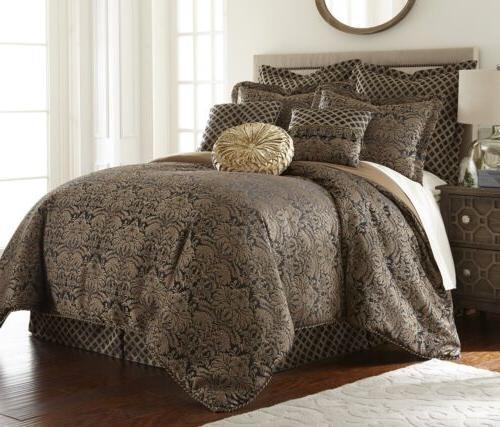 valencia 9 piece floral jacquard oversized comforter