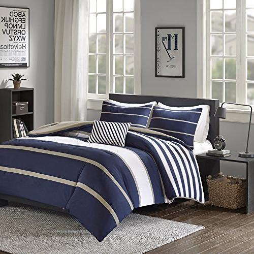 Comfort Comforter Set - Khaki - Perfect College Dormitory, Guest Size, 2 Decorative Pillow