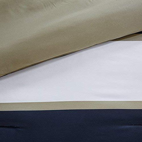 Comfort Spaces Verone Comforter Piece White, Navy, Khaki - Stripes Perfect Guest - Size, 2 Shams, 1 Decorative Pillow
