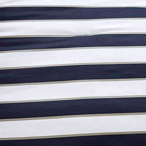Comfort Spaces - Comforter Set Piece Khaki Stripes Perfect Dormitory, Guest Room - Queen Size, 1 Pillow