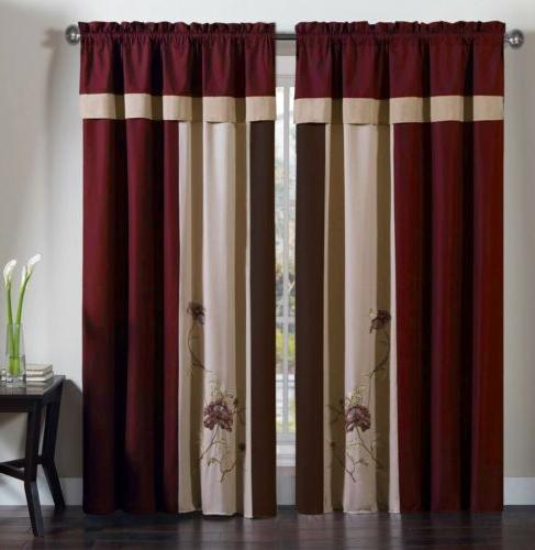 Chezmoi Vienna 7-Piece Floral Embroidery or Curtain